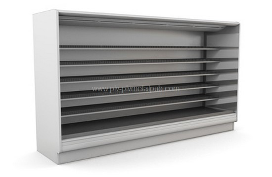 Row of supermarket shelves on a white background. 3d illustration.