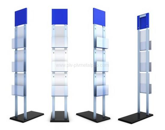 présentoir à documents en métal et plexiglass avec fronton et porte-brochures