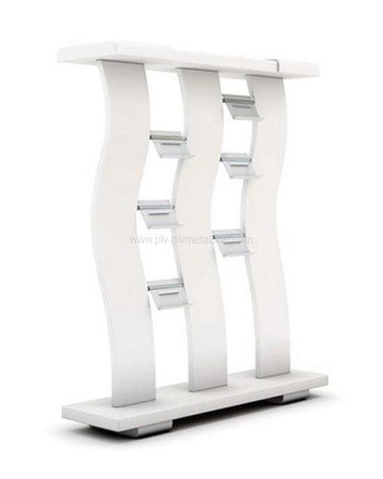 présentoir design : présentoir métallique avec colonnes ondulées et portes-documents