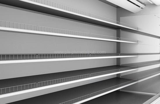 présentoir métal - vue des étagères avec rebord