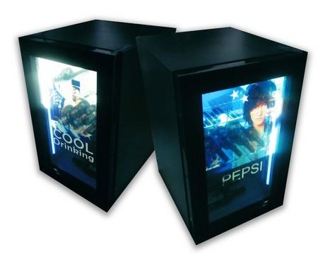 support plv : armoires réfrigérées avec portes transparentes, écran Lcd